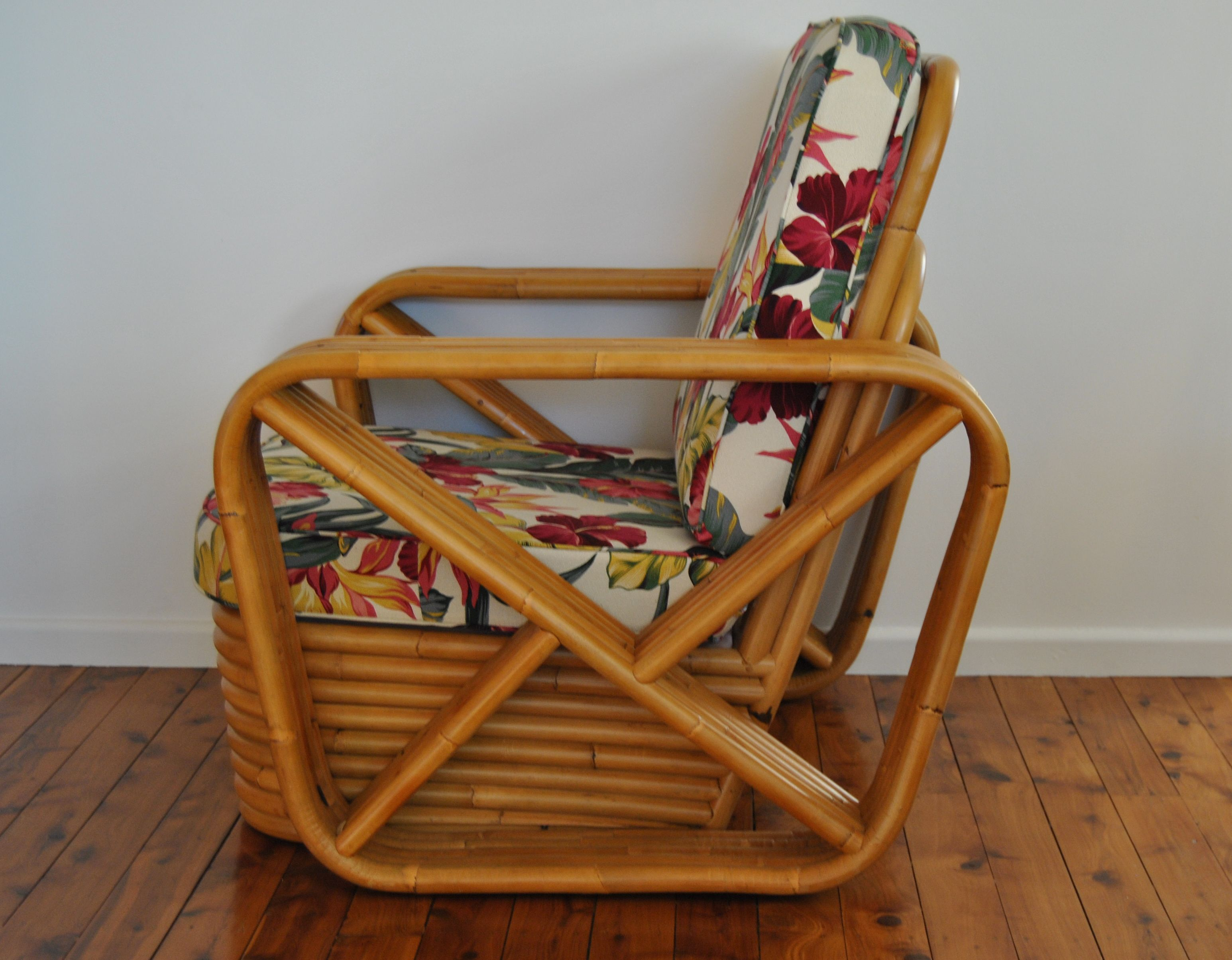 Side View Of Rattan Bamboo Cane Chair Called The
