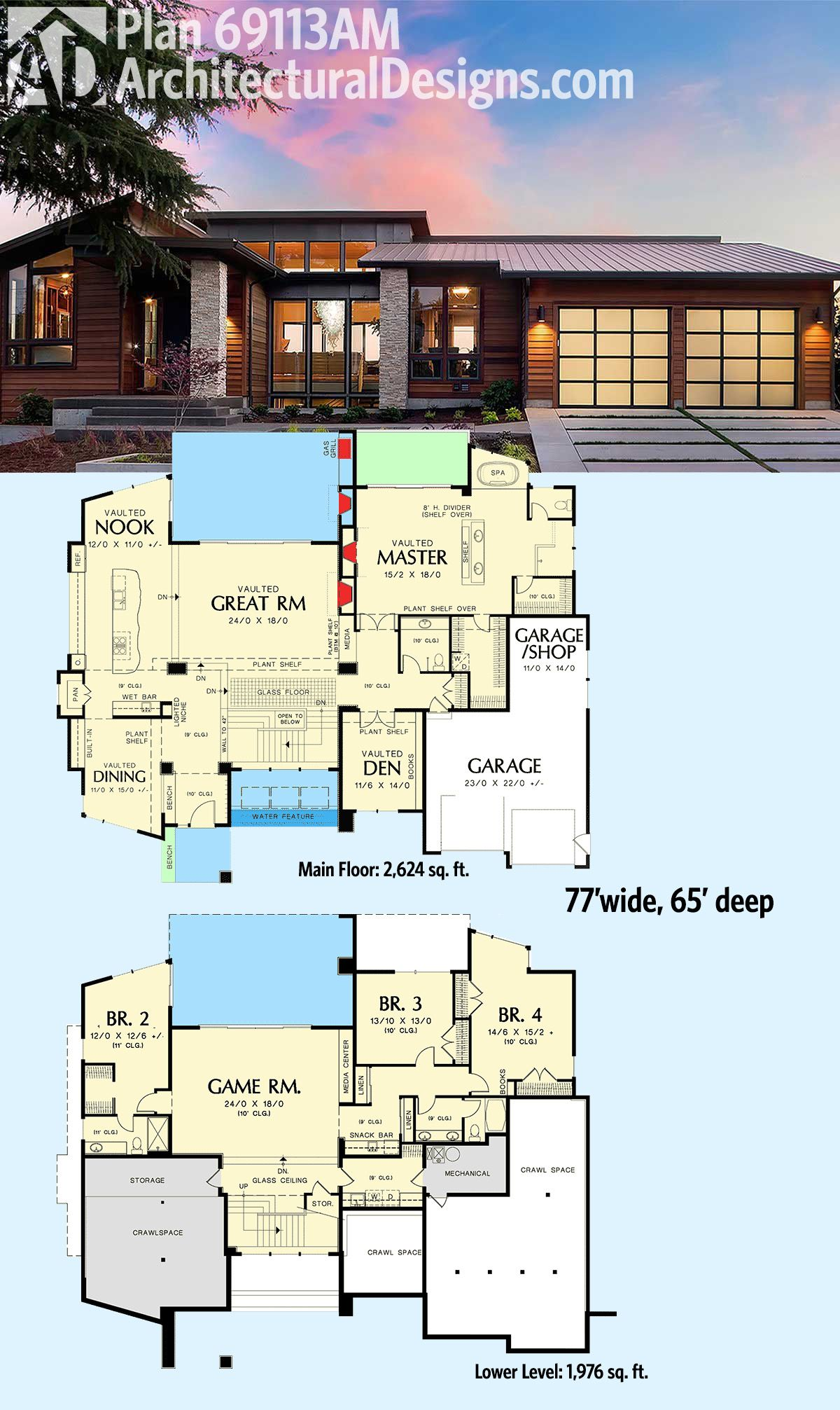 Superb Architectural Designs Modern House Plan 69113AM Gives You Over 4,000 Square  Feet Of Living Spread Across