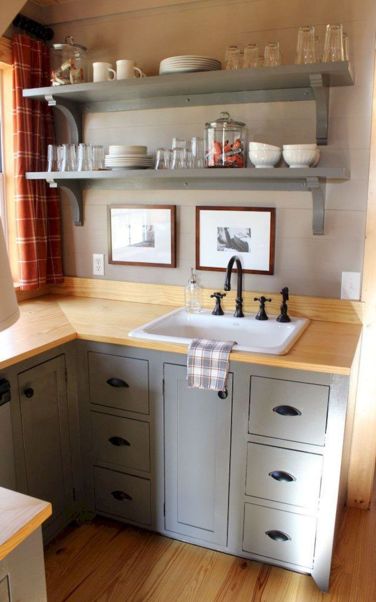 60 Amazing Tiny House Kitchen Design Ideas Carolanne News Tiny Kitchen Design Tiny House Kitchen Kitchen Remodel Small
