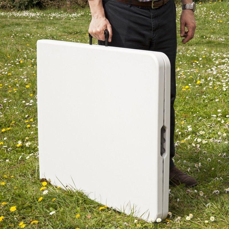Grande table de jardin pliante blanche 8 pers 180 cm