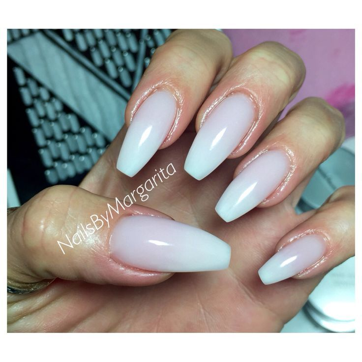 Sheer Nude to White Ombre Coffins - Nails By Georgia