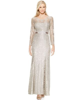 1df7da921bd Betsy   Adam Long-Sleeve Open-Back Lace Gown