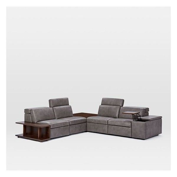 West Elm Enzo 4 Seater Sectional With Corner Table Set 23 Left Deluxe 93 020 Mxn Liked On Polyvore Featuring H West Elm Sofa Furniture Modern Furniture