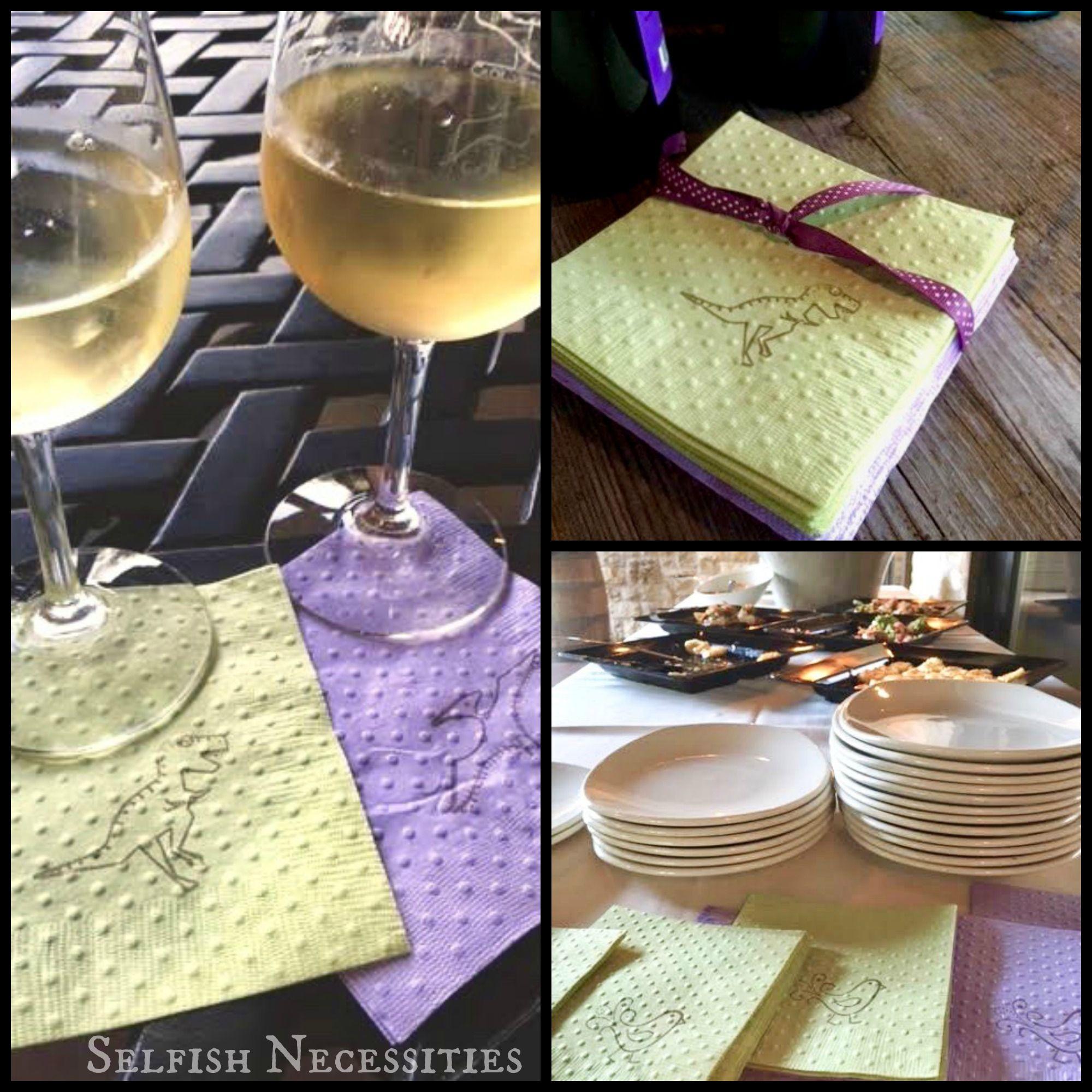 Winery Wedding Reception A Selfish Necessities Client Featuring Dinosaur And Bird Napkins