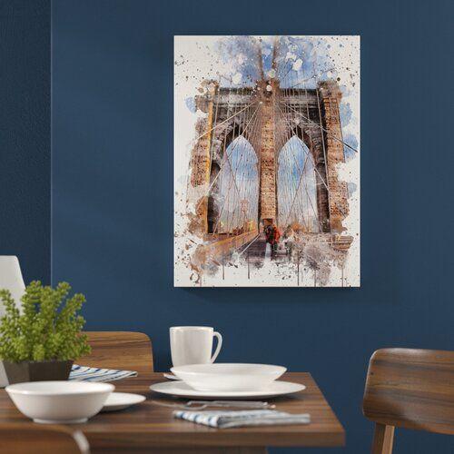 Photo of Poster Brooklyn Bridge New York City East Urban Home Größe: 42 cm x 29,7 cm