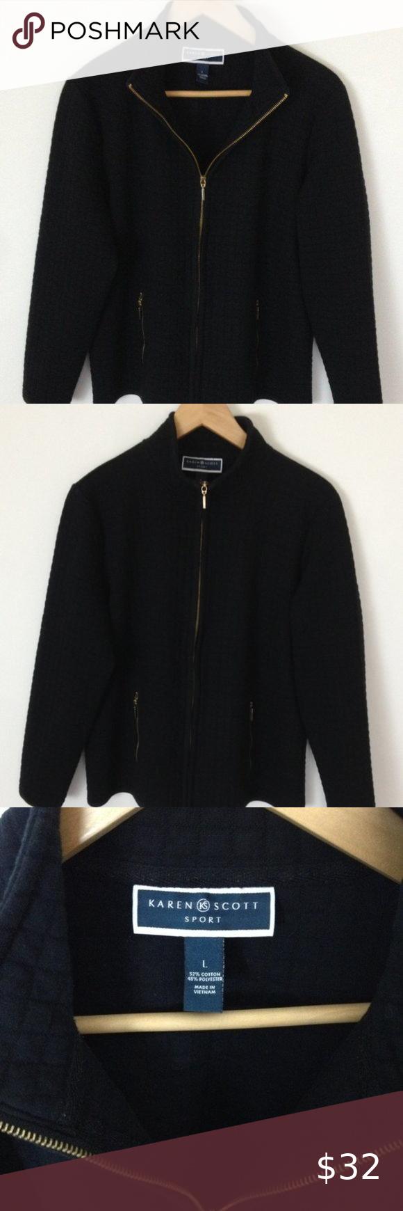 Karen Scott Sport Women L Quilted Black Jacket Fleece Jacket Womens Sports Women Elegant Jacket [ 1740 x 580 Pixel ]