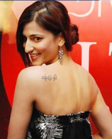 #ShrutiHassan with a #tattoo of her name in Tamil