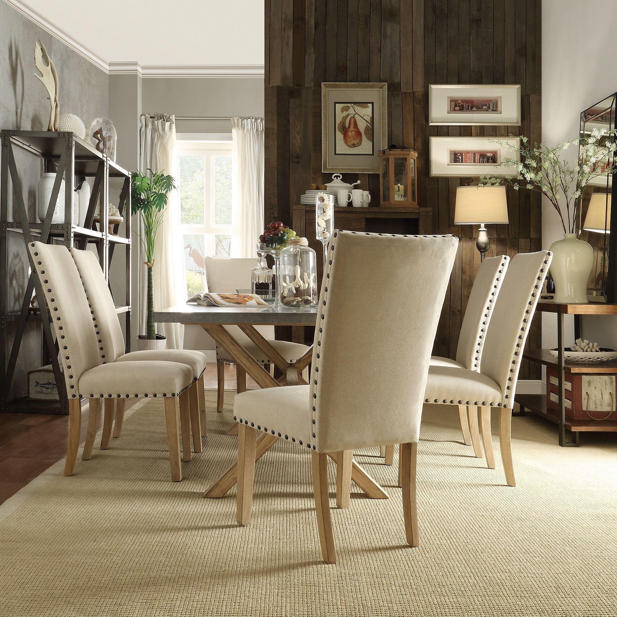 inspire q aberdeen industrial zinc top weathered oak trestle 7 piece dining set meubles en