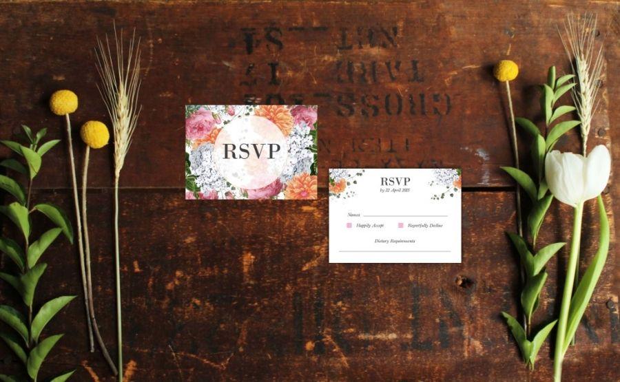 vintage botanical floral wedding invitations rsvp pink peach Sail and Swan
