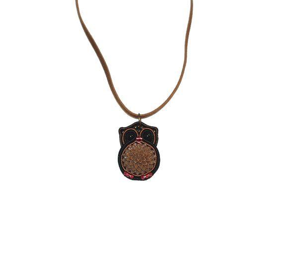 Owl Soutache Pendant miniature bird necklace cute by MesFantasies, $34.00