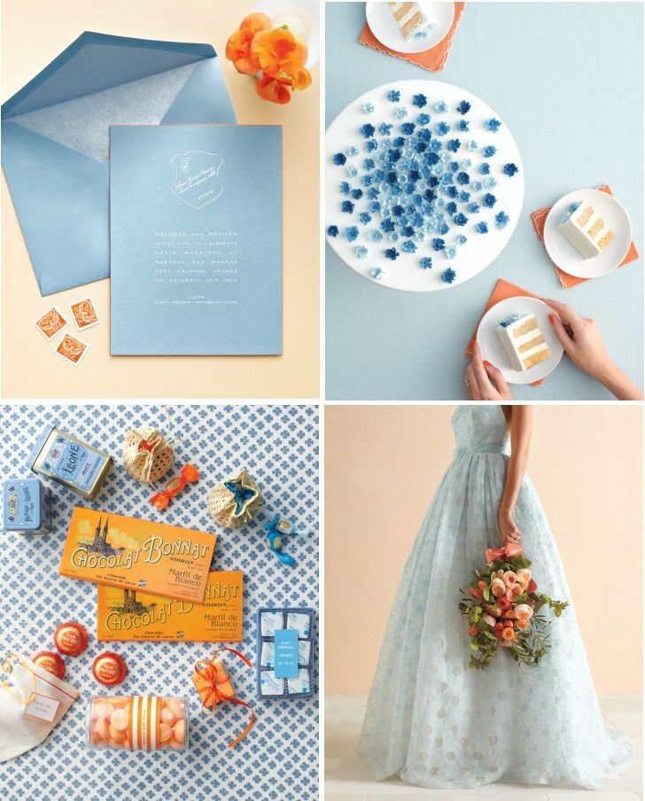 Blue and melon wedding