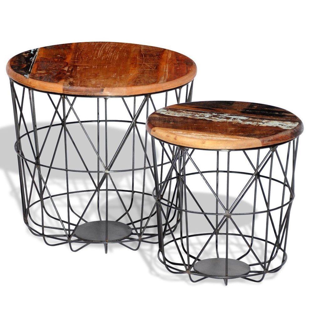 Details Zu Vintage Zimmer Beistelltisch Industrial Couchtisch Set Metall  Loft Kaffee Möbel