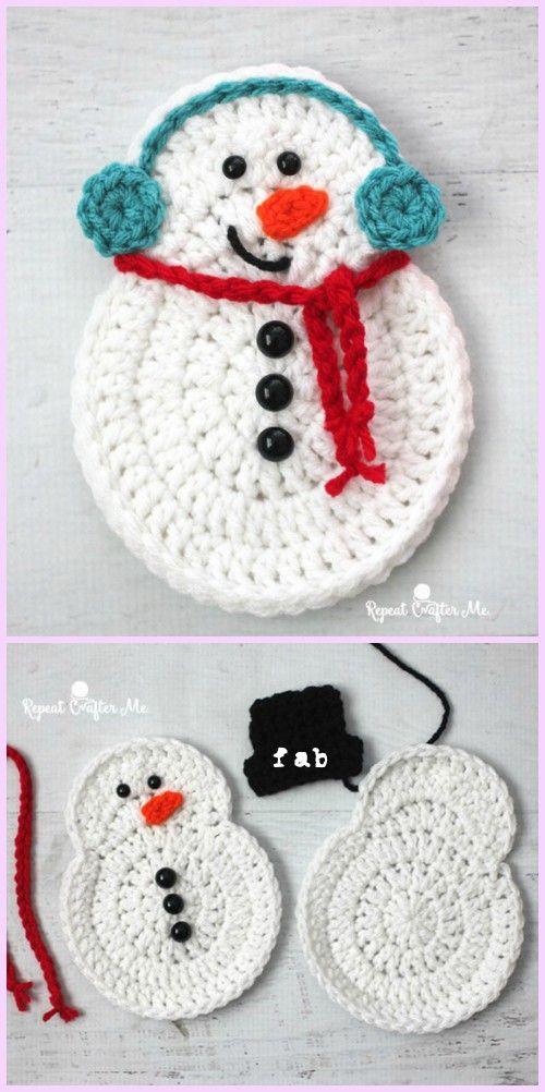 Crochet Snowman Ornament Free Pattern   Crochet   Crochet snowman ...