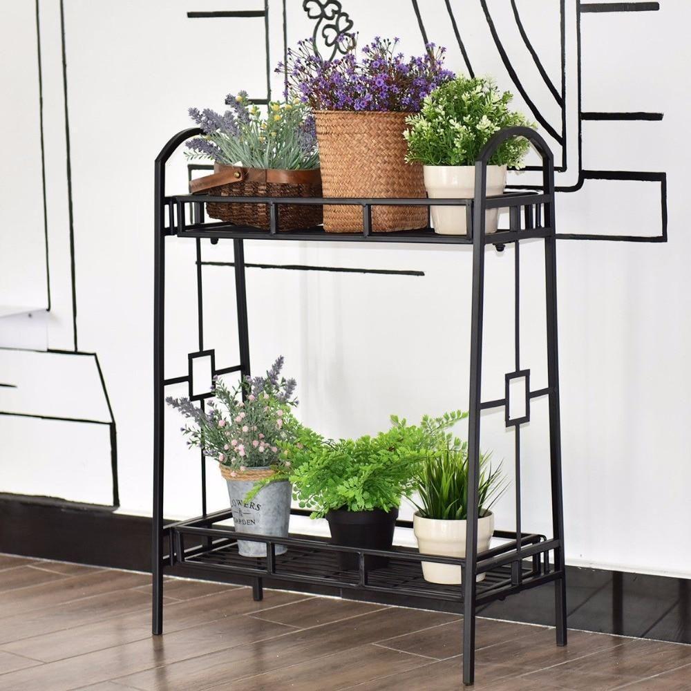 Heavy Duty 2 Tier Metal Flower Pot Rack Plant Display Stand Shelf