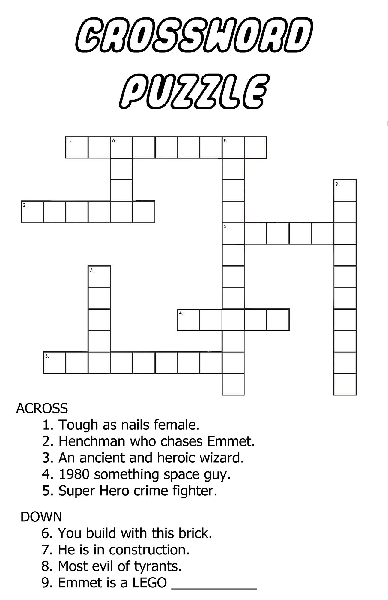 Very Easy Crossword Puzzles For Kids In