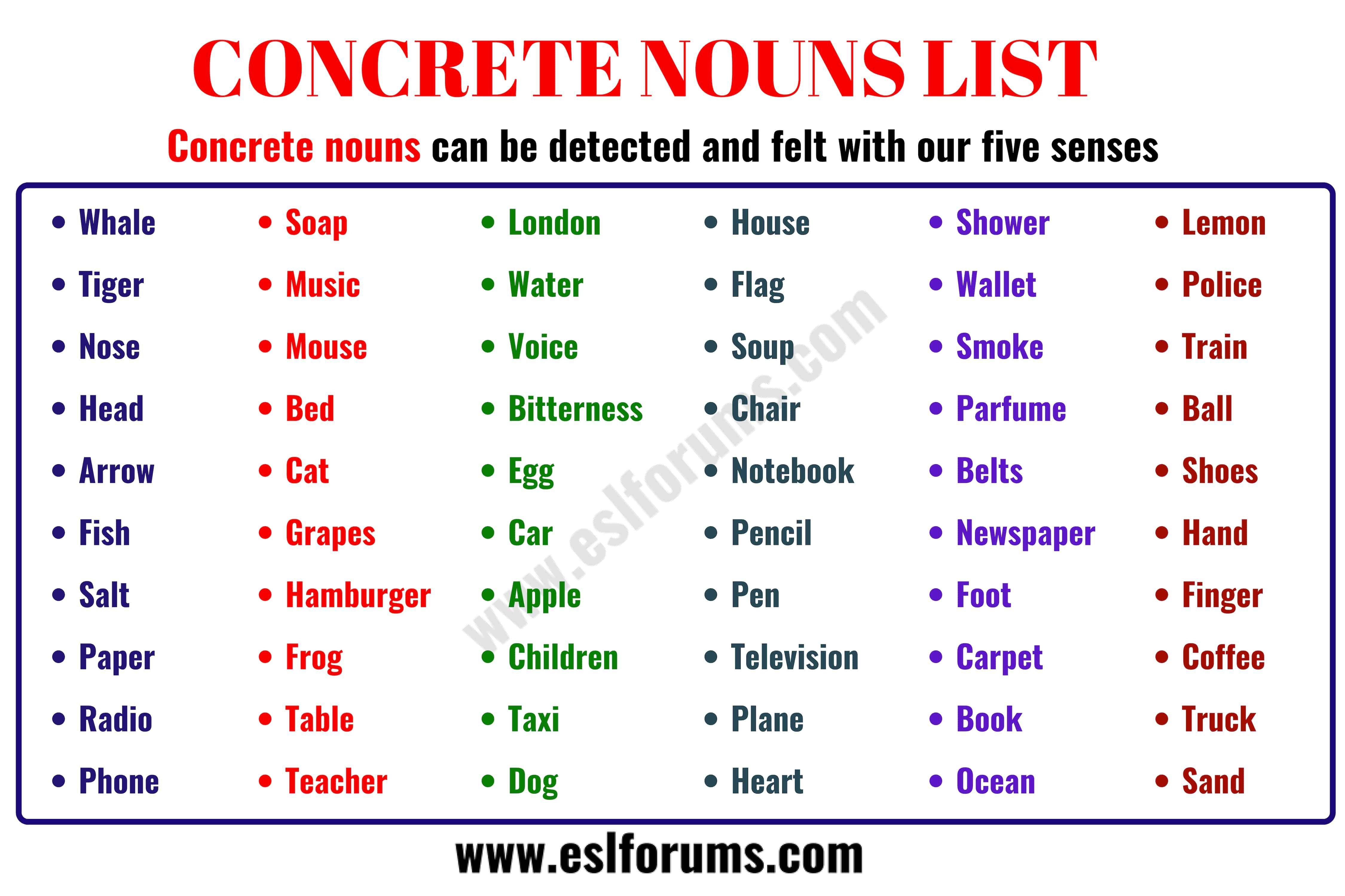 Concrete Noun Important List Of 60 Concrete Nouns In