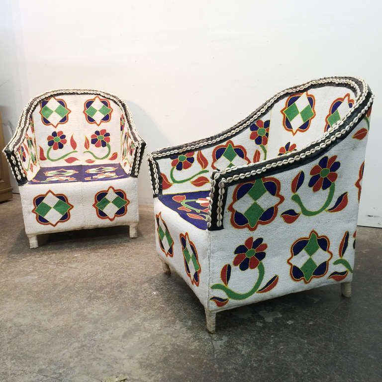 African Beaded Chairs From Nigeria