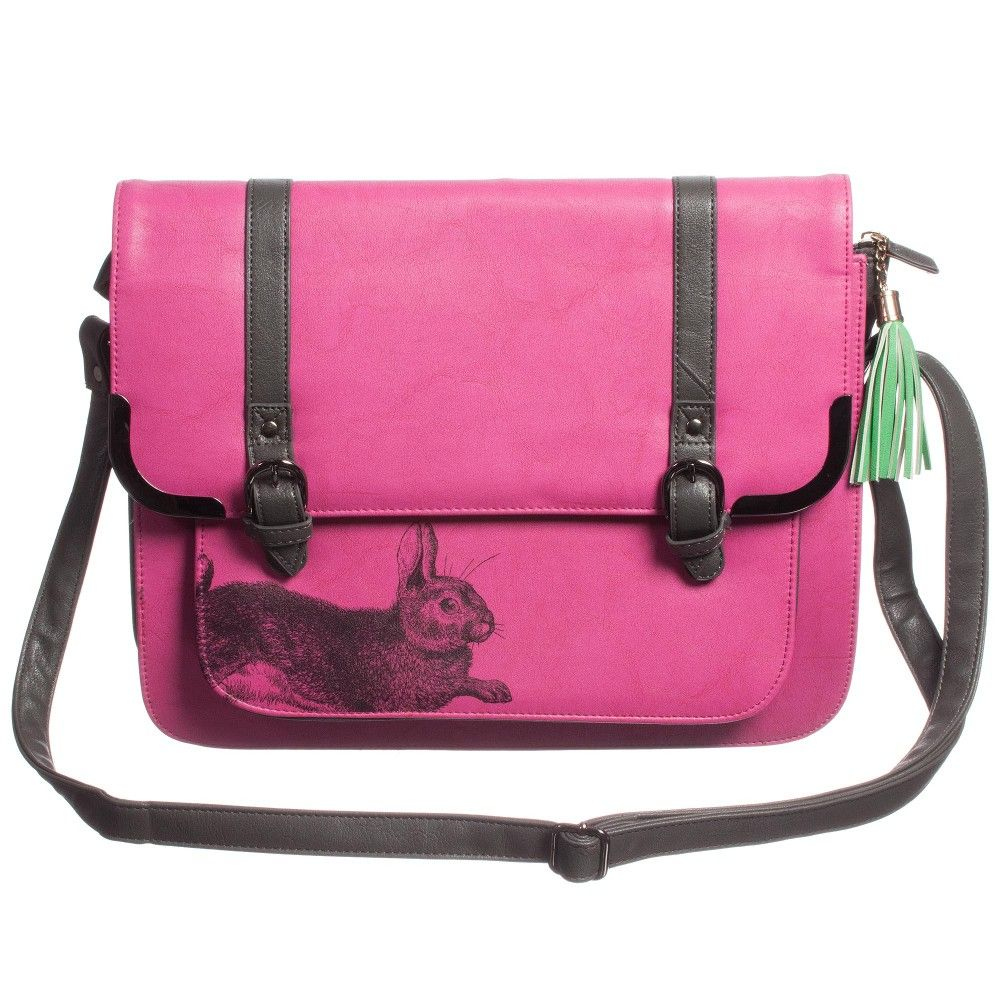 Heritage and Harlequin bright,fuchsiapinkand darkgrey satchel bag with aVictorian style etchingof a rabbit. Made from durable, synthetic leather, it has one main compartment with a zip pocket inside and an outside pocket that is securely hidden under the front flap. It fastens with a zip andtwo magnetic poppers and has a handy adjustableshoulder strap that is firmly attached.In the classic satchel style, it is perfect for carrying a laptop or tablet and is suitable for little girls…