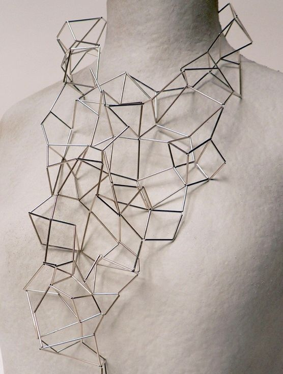 466cc0f37 Geometric Jewellery - necklace with complex 3D structure using tubular  beads; architectural jewelry design // Mei Lee