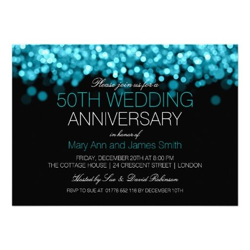 50th Wedding Anniversary Turquoise Lights Invites