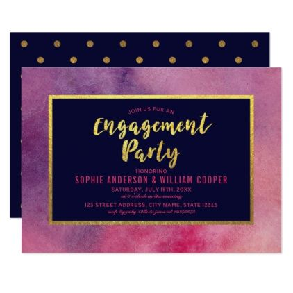 purple pink watercolor faux gold engagement party card party gifts