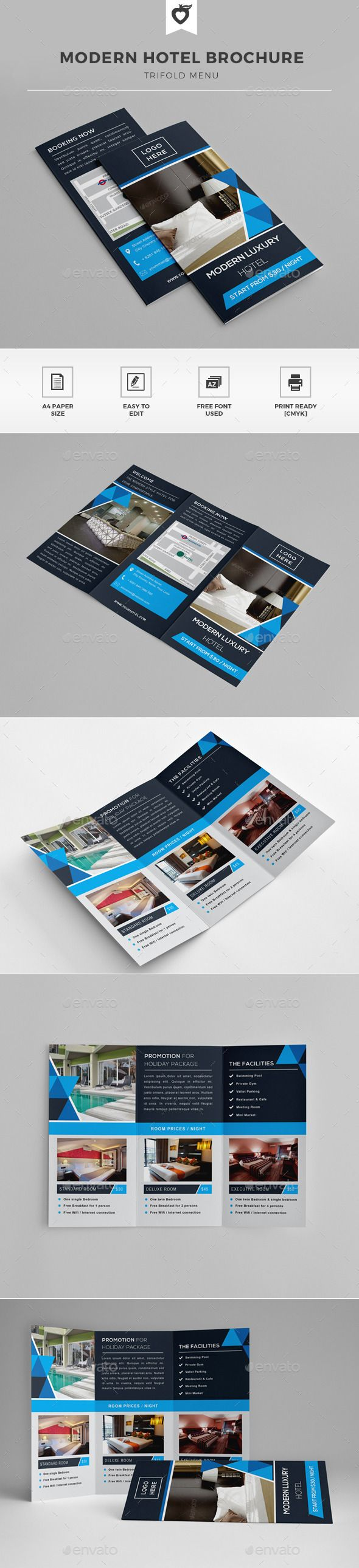 Hotel Trifold Brochure | Brochures, Brochure template and Template
