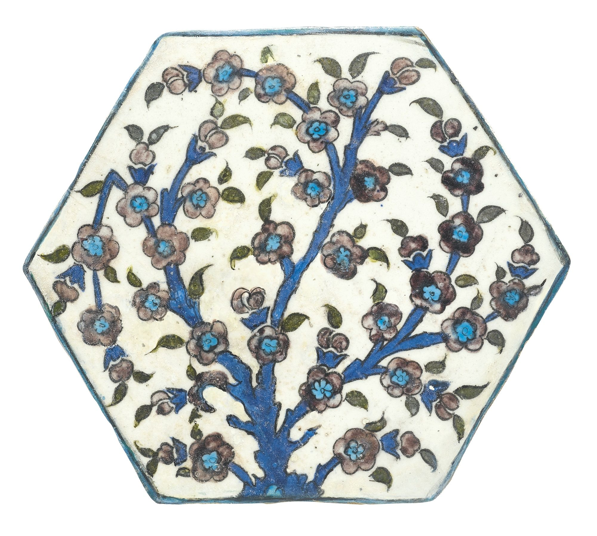 An Iznik 'Damascus style' hexagonal tile, Turkey, 16th century | Another tile from the same series is in the Sadberk Hanim Museum (see H. Bilgi, Dance of Fire: Iznik tiles and ceramics in the Sadberk Hanim Museum and Omer M. Koç Collections, Istanbul, 2009, p.17, no.6).
