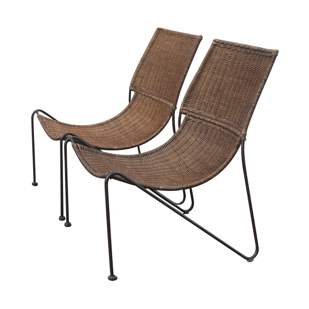Wicker And Iron Lounge Chairs Frederick Weinberg Usa