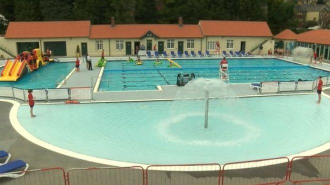 Free swimming as revamped lido opens Swimming pool