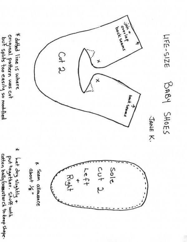 Baby shoe pattern template