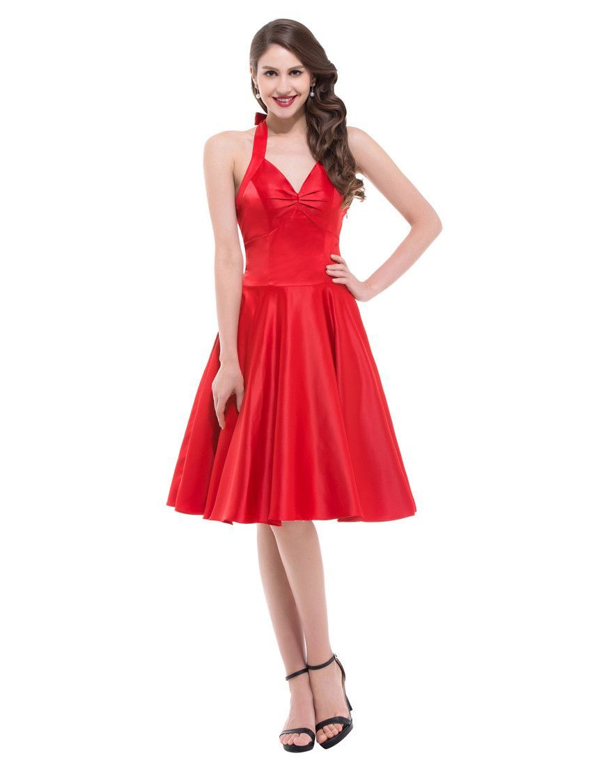 Women casual halter dress sleeveless black blue red vintage dresses