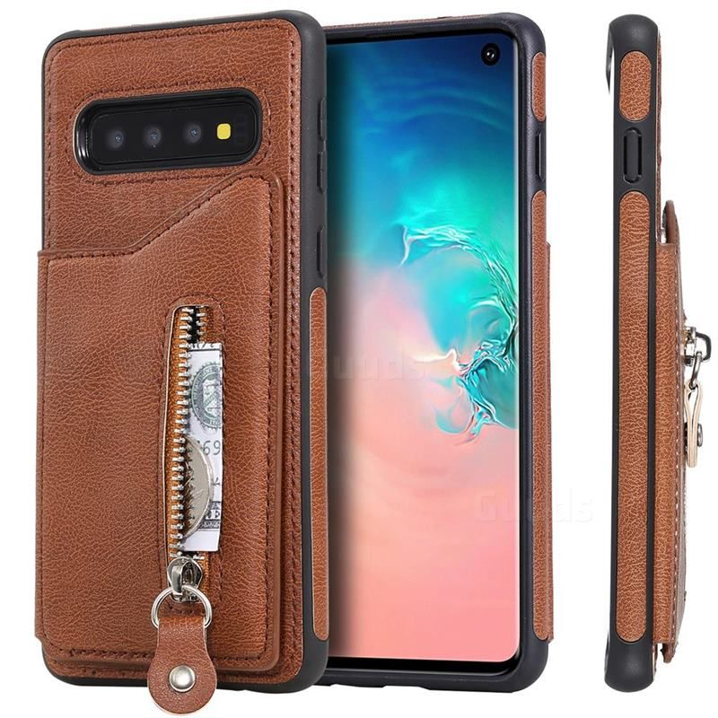 Retro Buckle Zipper Anti Fall Leather Phone Back Cover For Samsung Galaxy S10 6 1 Inch Brown Guuds Com Wholesale Dropshi In 2021 Fall Leather Samsung Galaxy Galaxy