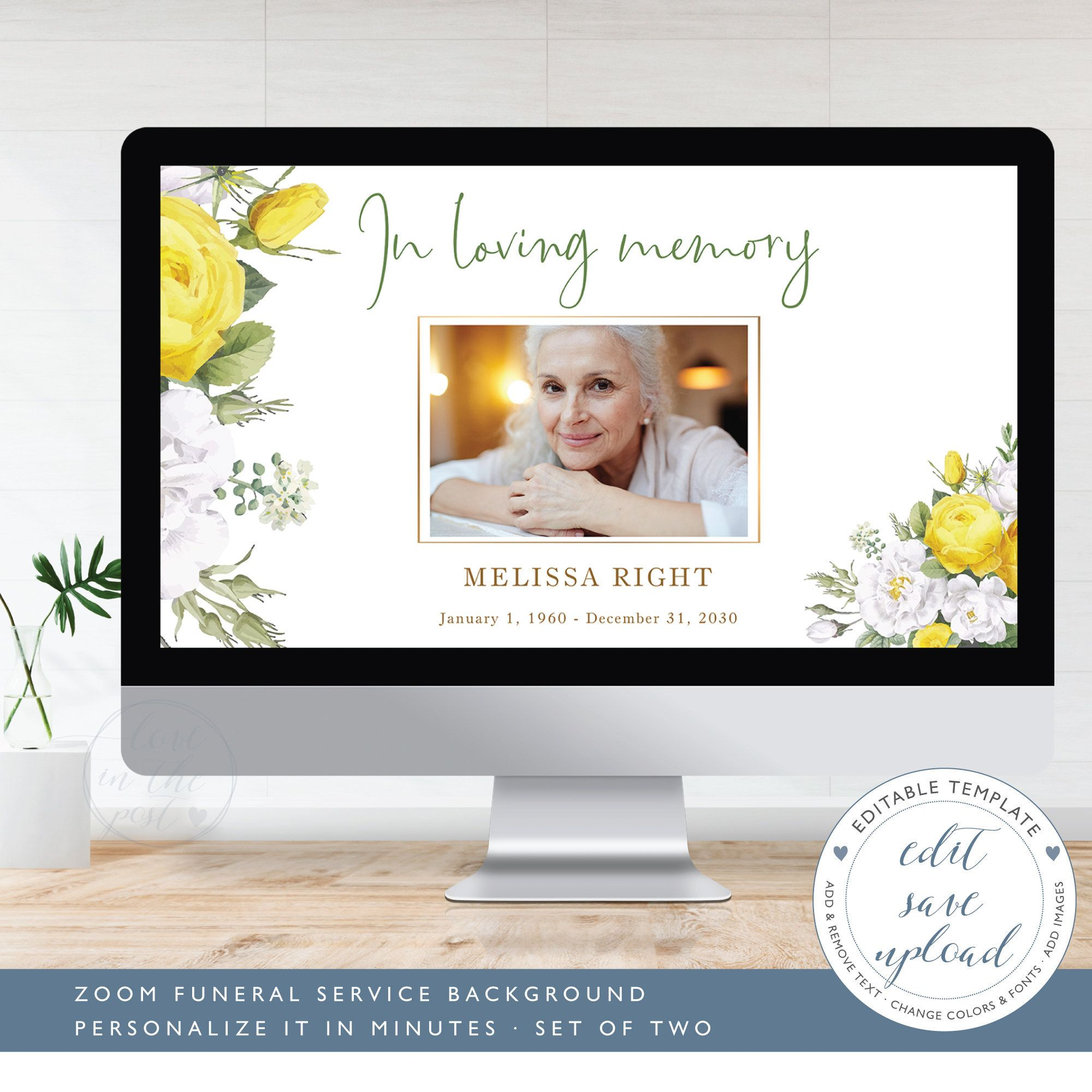 Virtual Funeral Background Zoom Template For Virtual Memorial Service Editable Zoom Background For Funeral Set Of Two Ff4