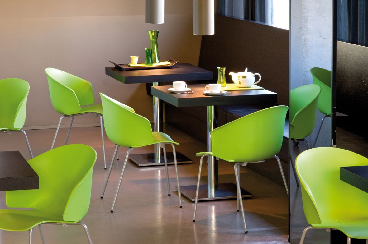 Lime Green #pedrali Grace Chairs Shine In A Restaurant