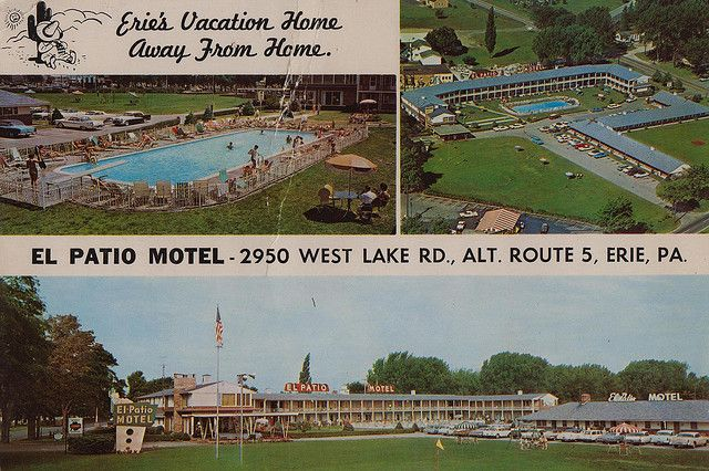 El Patio Motel - Erie, PA. Three miles west of Erie on Alternate Route - El Patio Motel - Erie, Pennsylvania Vintage Motels And Hotels
