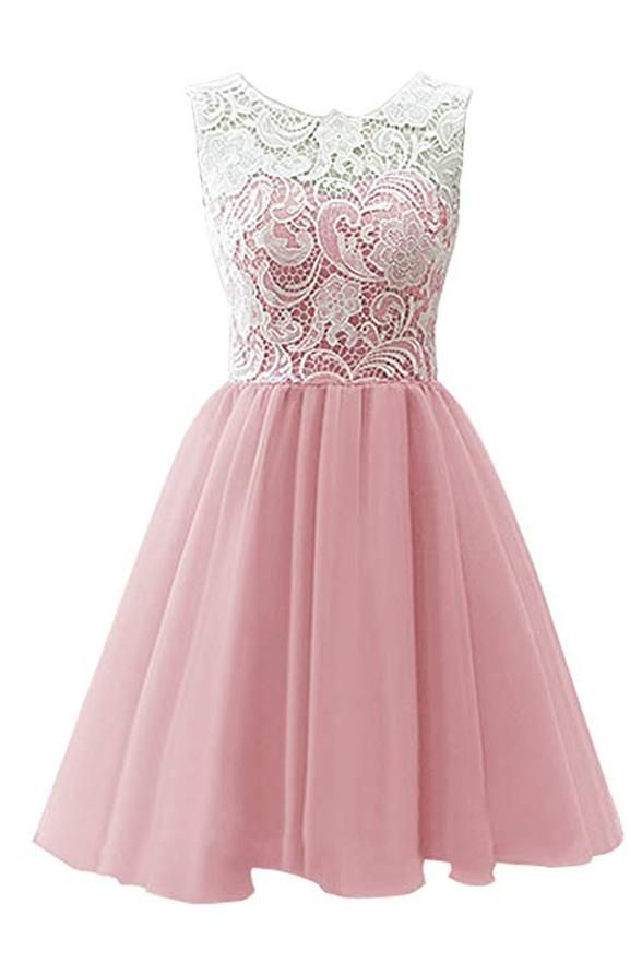 36b12dd2544 White Lace Pink Sweet 16 Dress Homecoming Dress  H003 I want it in blue 126