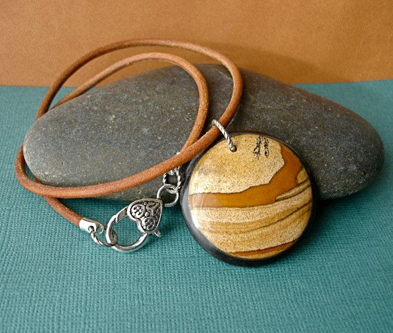Natural Picture Jasper Circle Pendant & by theDeerCreekHouse