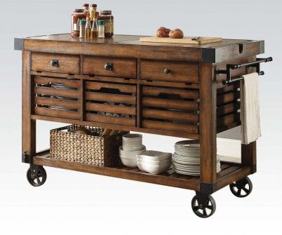 Acme 98184 Kaif Distressed Chestnut Finish Wood And Black Metal Accents Kitchen Island Cart Portable Kitchen Island Kitchen Cart Kitchen Design Diy Wooden kitchen cart on wheels