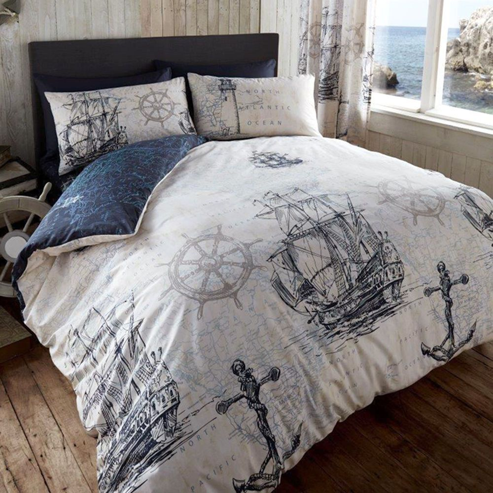 Vintage Ocean Voyage Duvet Cover Reversible Nautical Bedding Set