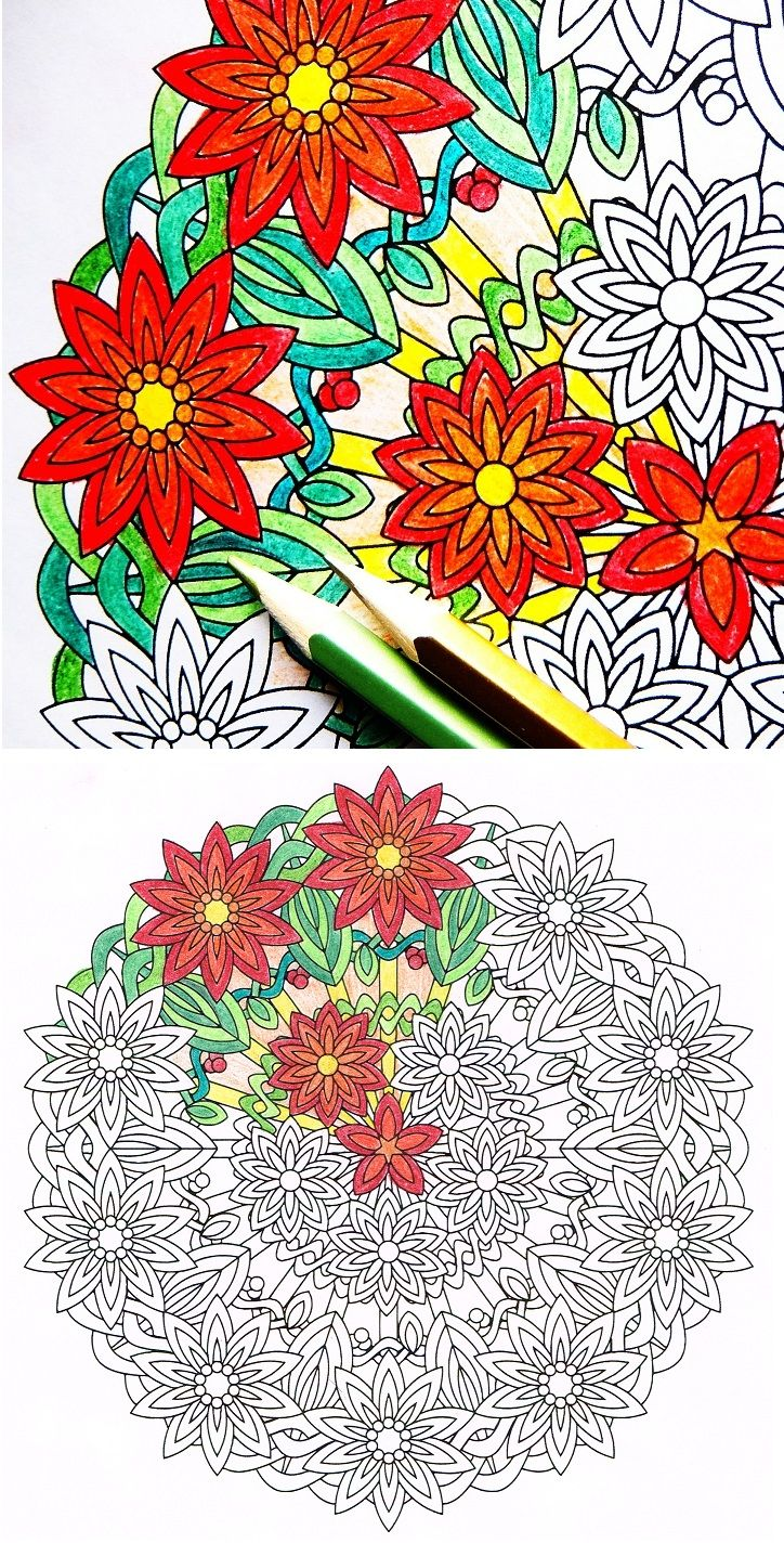 Flower Burst - flower mandala coloring page by Candy Hippie | Flower ...