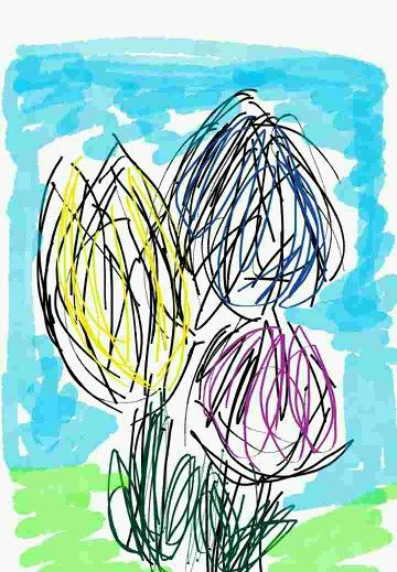Tulips sketched on the bus.