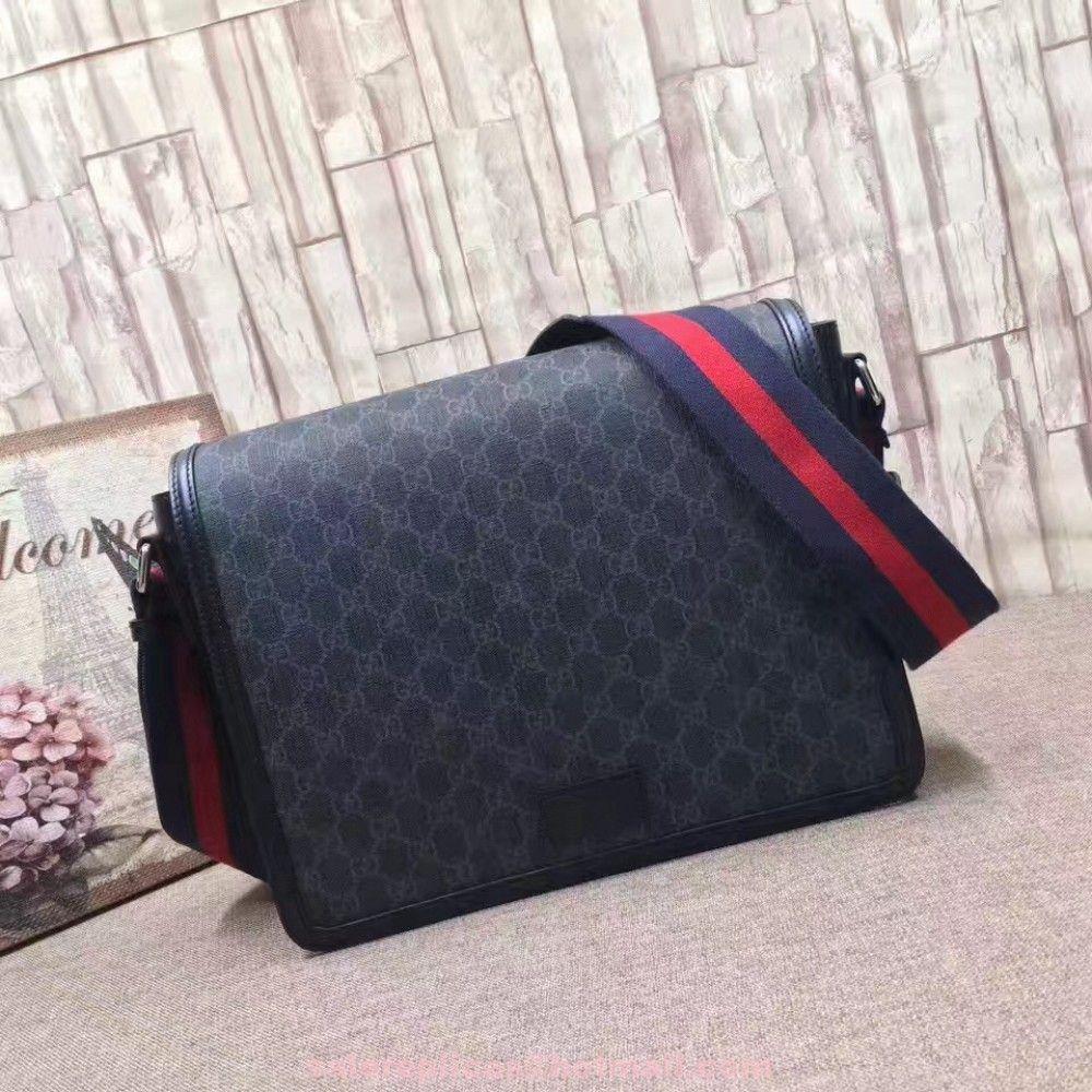 968be175 Replica Gucci Men's flap messenger Bag 474138 Black ...