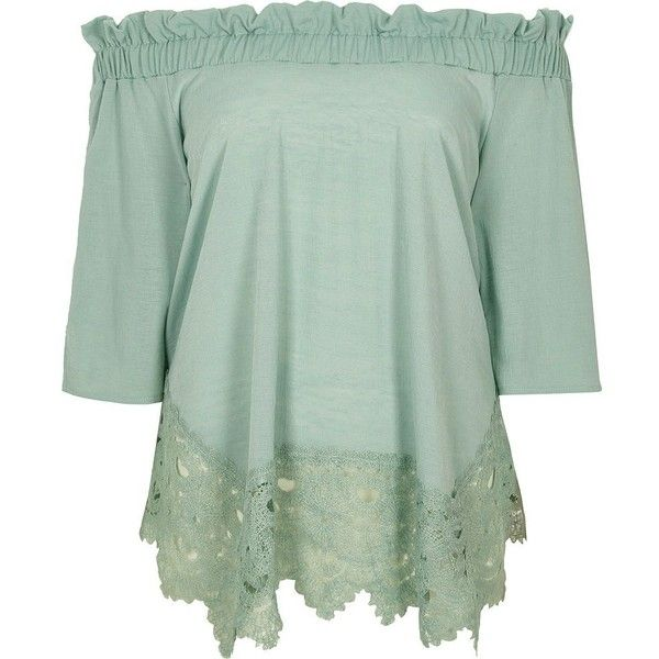 cb869ad861f59 River Island Light green lace hem bardot top ( 56) ❤ liked on Polyvore  featuring