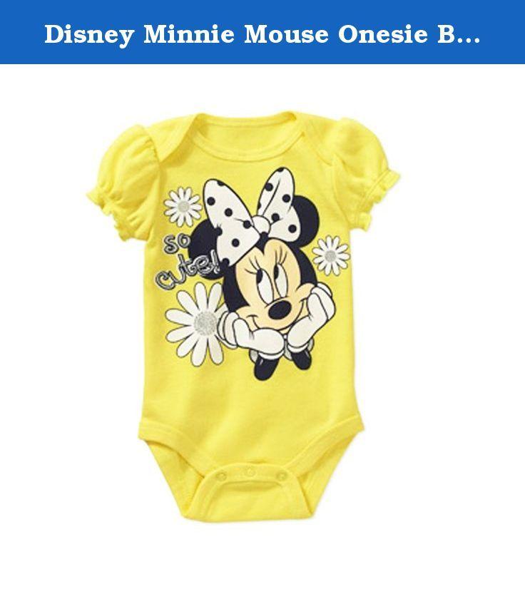c111cd43face Disney Minnie Mouse Onesie Bodysuit Baby Creeper Baby Girls  (0-3 ...