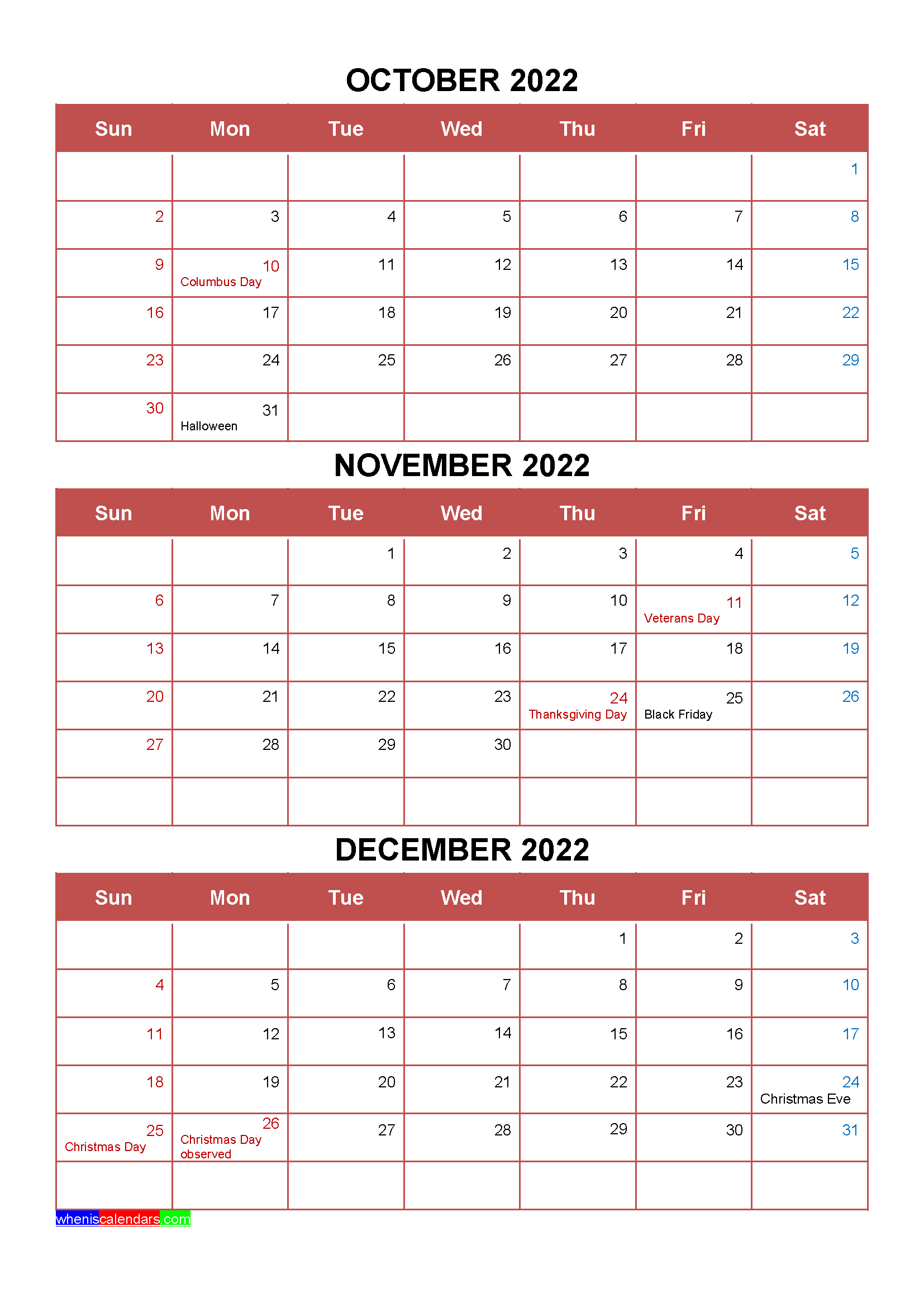 Free October November December 2022 Calendar With Holidays Four Quarters Calendar Template Free Printable Calendar Templates Calendar Printables