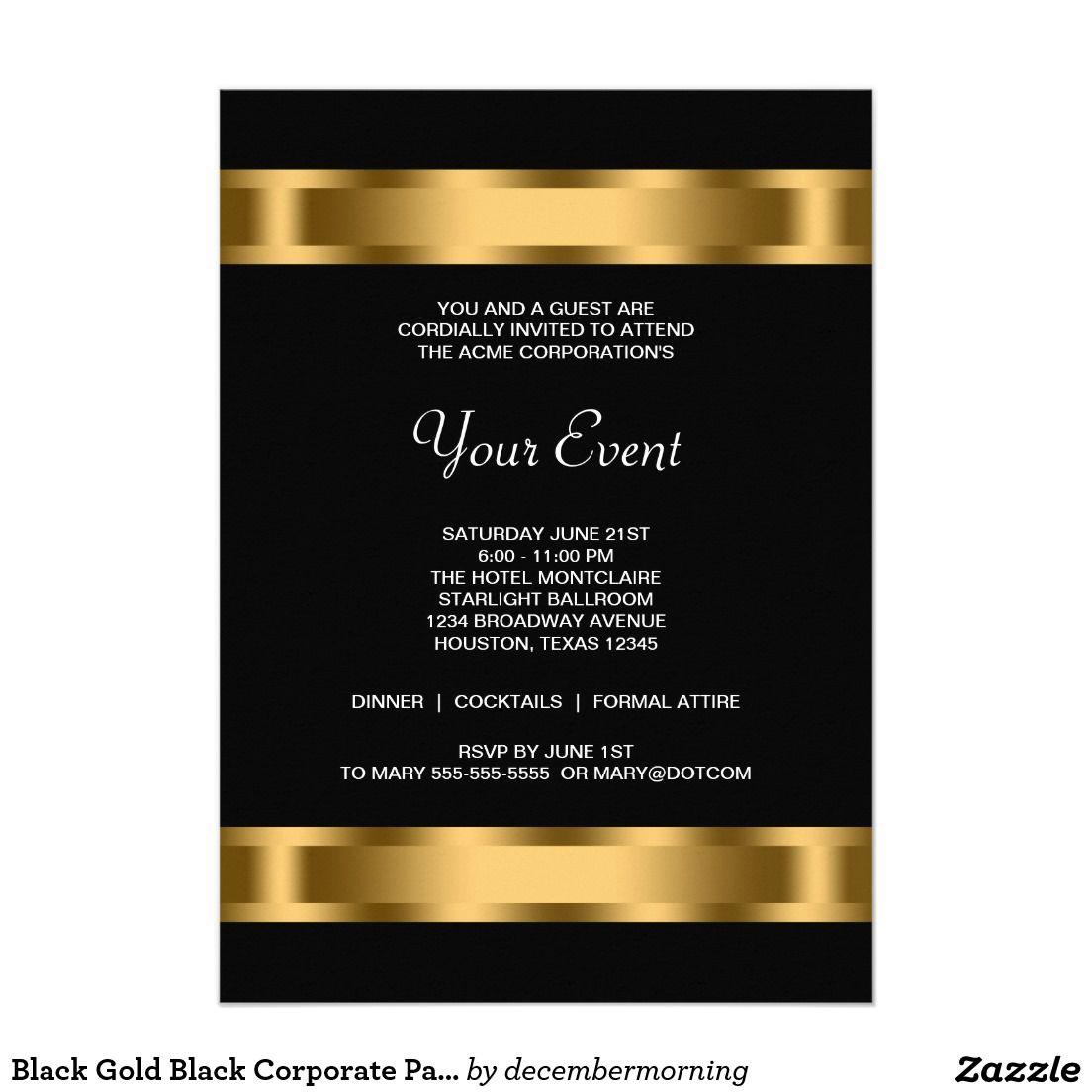 Black Gold Black Corporate Party Event Invitation Zazzle