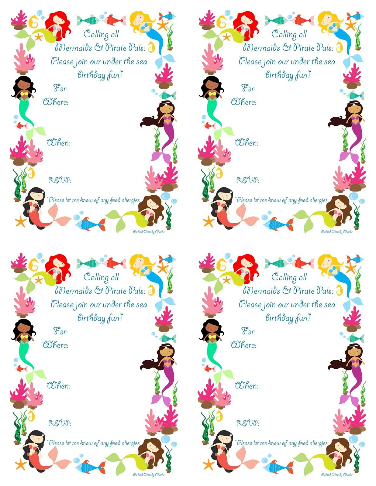 Pickled Okra By Charlie Mermaid Bithday Party Invitations Free Printable