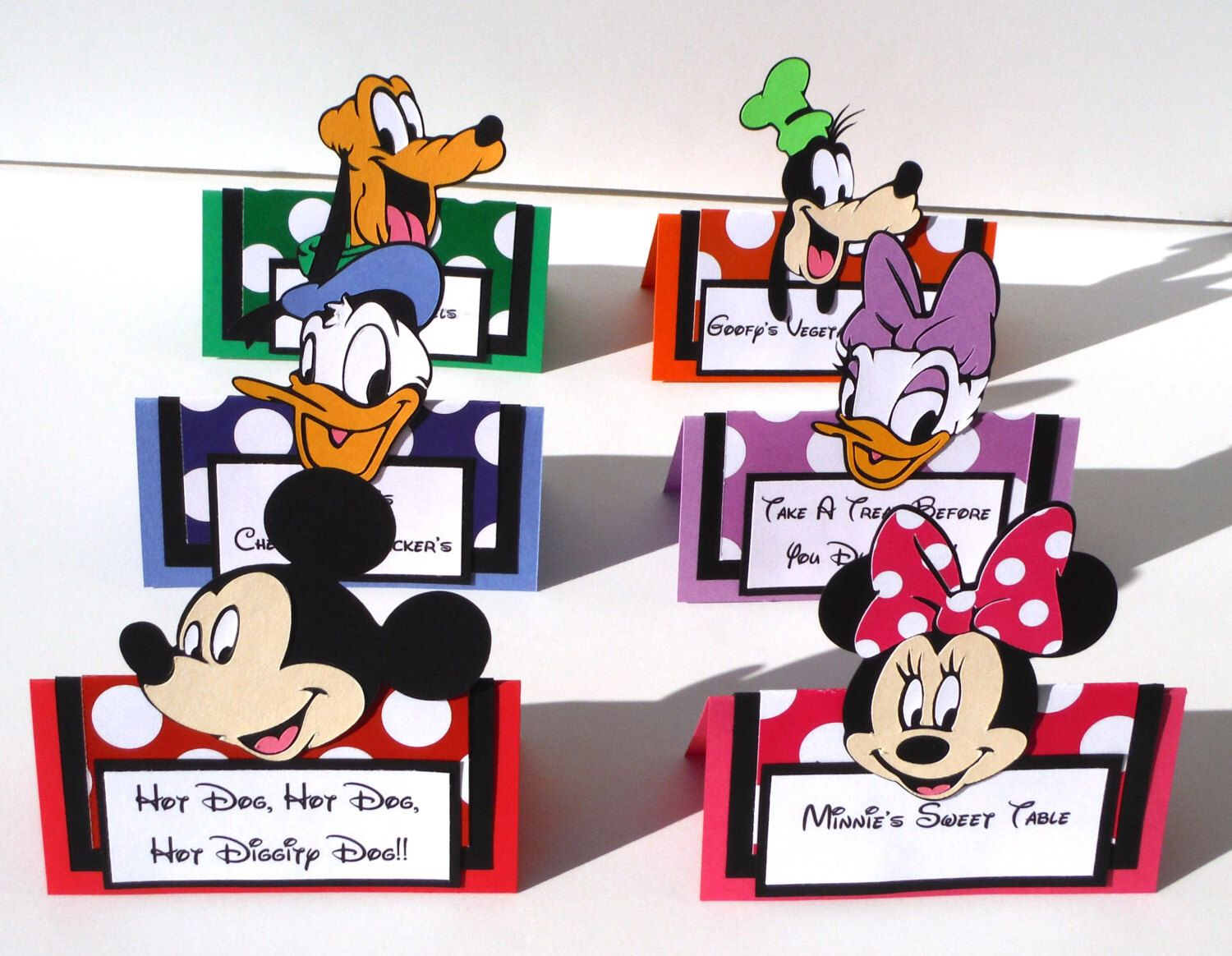 6 Mickey Mouse Clubhouse Themed Tent Style Food Table Labelu0027s / Name Cards Minnie Donald Daisy  sc 1 st  Pinterest & 6 Mickey Mouse Clubhouse Themed Tent Style Food Table Labelu0027s ...
