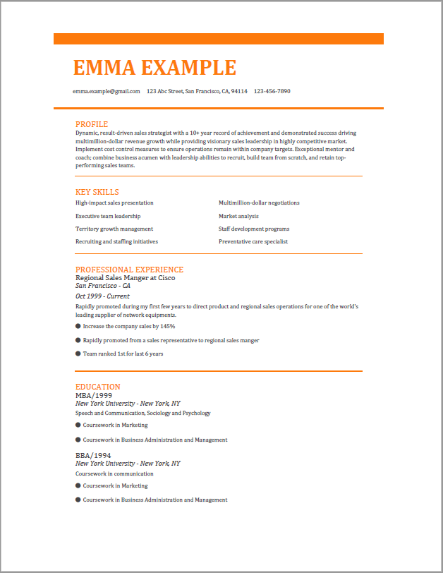 modern traditional resume template
