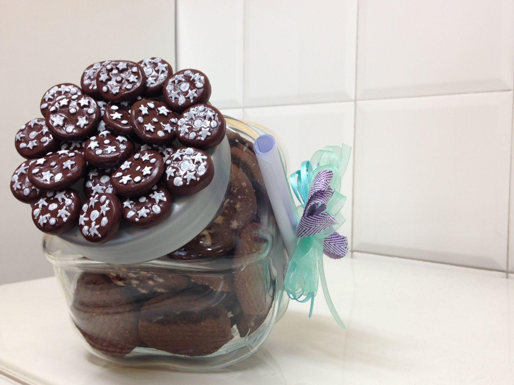 vaso per biscotti con decorazione di pan di stelle in fimo | non ... - Decorazioni Con Biscotti